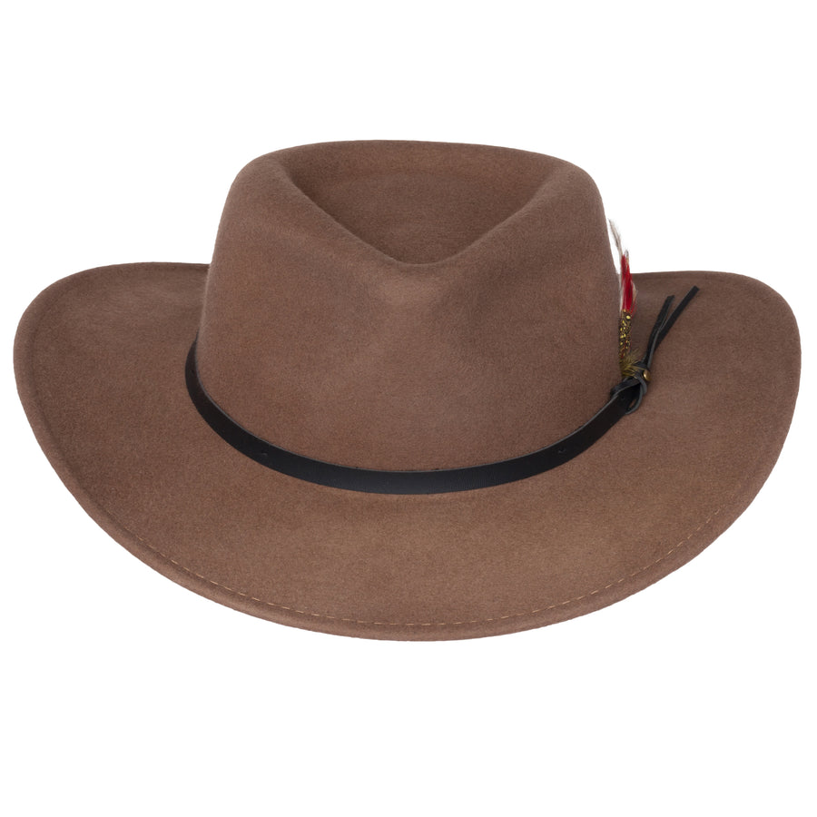 Men's Outback Wool Cowboy Hat |Montana Pecan Brown Crushable Western Felt By Silver Canyon