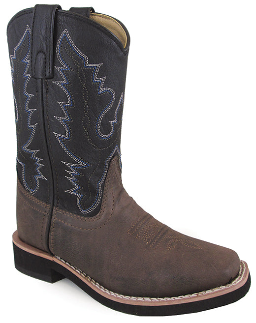 f7d5538d1c5 Smoky Mountain Boys Brown/Black Tyler Square Toe Western Cowboy ...