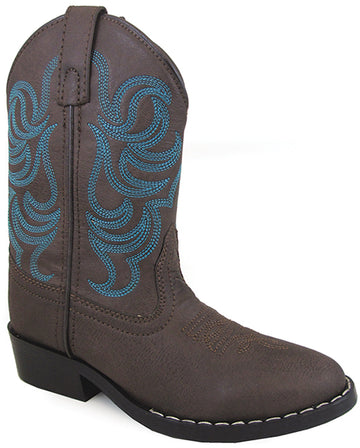 Smoky Mountain Boys Brown with Blue Stitch Monterey Western Cowboy Boots