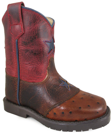 Smoky Mountain Toddlers' Autry Square Toe Two-Tone Distressed Leather Cognac/Red Crackle Boots