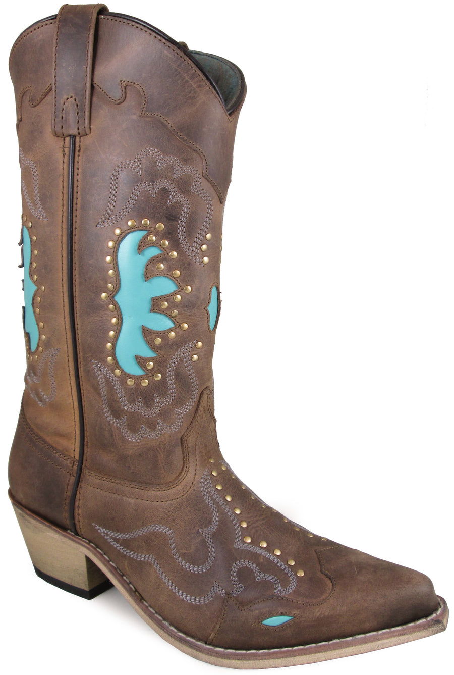 Smoky Mountain Women's Moon Bay Studded Design Snip Toe Brown Distress/Turquoise Boots