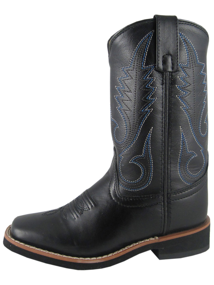 Smoky Childrens Black Judge Square Toe Cowboy Boot