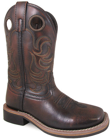 Smoky Mountain Youths' Landry Pull On Stitched Design Square Toe Chocolate Brush Off Boots