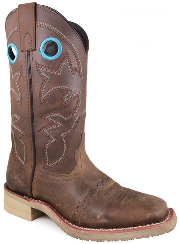 Smoky Mountain Women's Hayden Pulll On Holes Square Toe Brown Oil Distress/Brown Boots