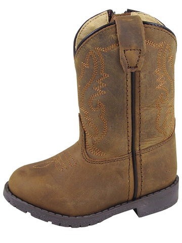 Smoky Mountain Toddler Hopalong Brown Distressed Cowboy Boot with Zipper - westernoutlets