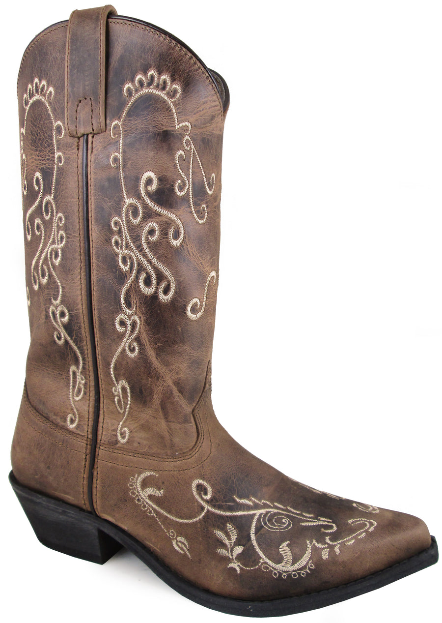 Smoky Mountain Women's Jolene Pull On Embroidered Snip Toe Brown Waxed Distress Boots
