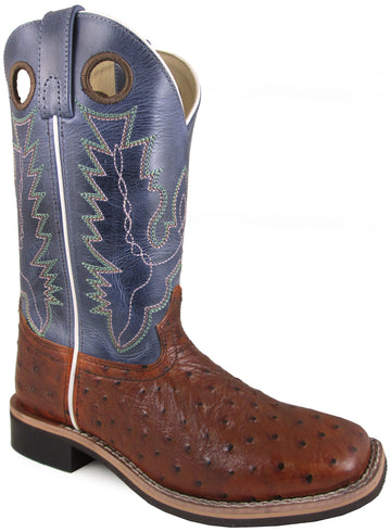 Smoky Mountain Women's Cheyenne Pull On Square Toe Distressed Cognac/Navy Crackle Boots