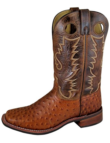 Smoky Mountain Men's Danville Pull On Stitched Textured Square Toe Cognac/Brown Crackle Boots