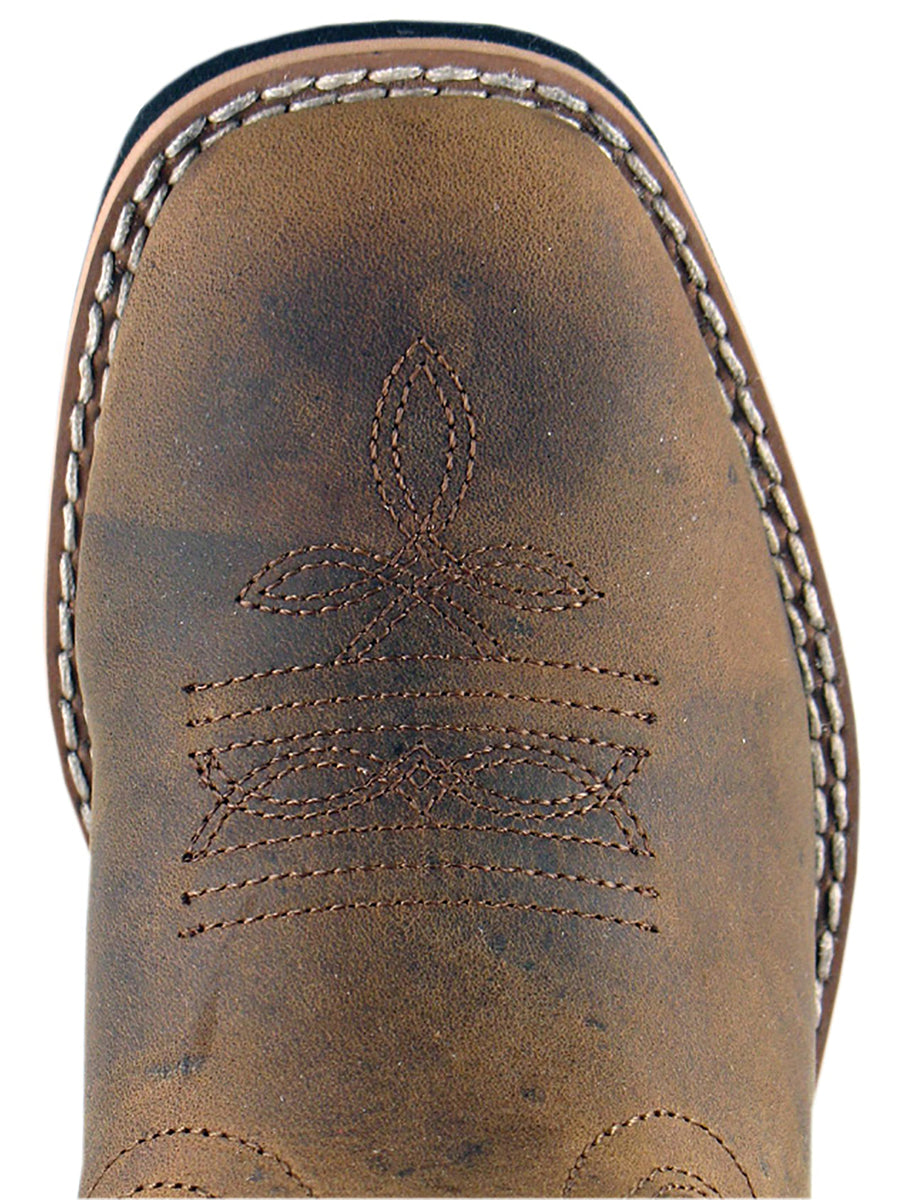 Smoky Mountain Childrens Distressed Brown Pueblo Square Toe Cowboy Boot