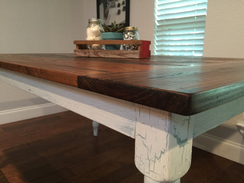 Farmhouse tabled with weathered legs
