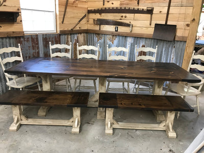 TEN - PERSON TRESTLE  TABLE SET