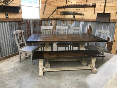 EIGHT - PERSON TRESTLE  TABLE SET