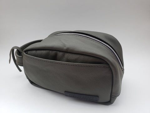 "Varsity Brown ""Army Green Leather"" Dopp Kit"