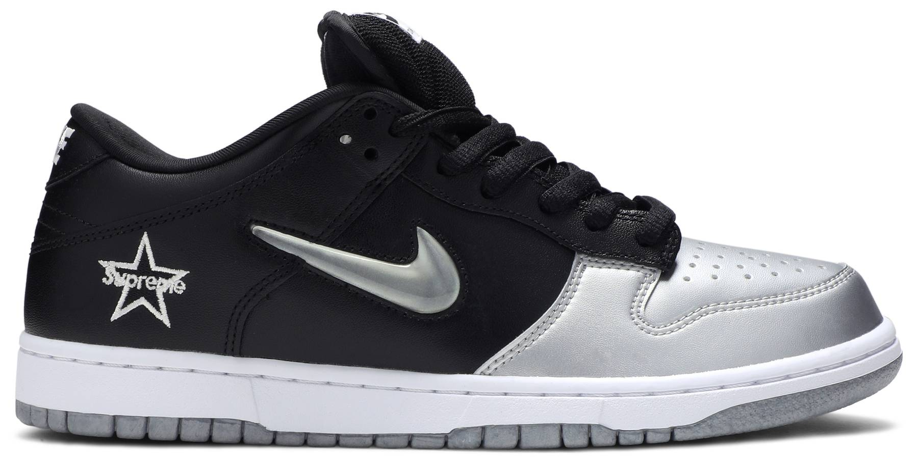 "Nike SB Dunk Low ""Supreme Jewel Swoosh Silver"" 2019"
