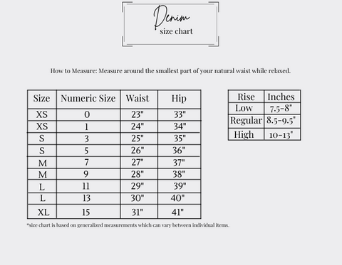 gray background denim size chart