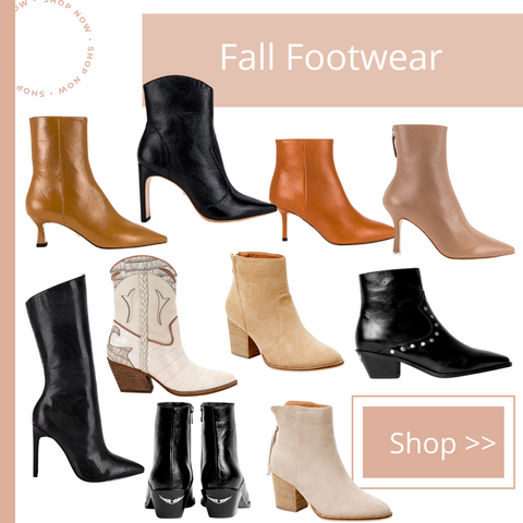 photo collage of fall shoes