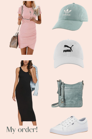 image of dresses, hats,. bags, and shoes