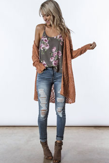 blush knit cardigan over floral cami