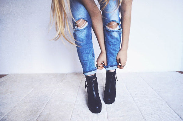 modern grunge style jeans and shoes