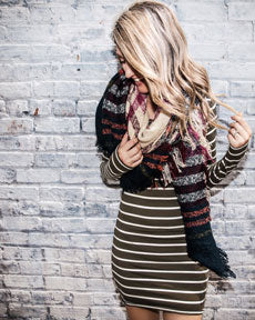 sweater dress with blanket scarf layered