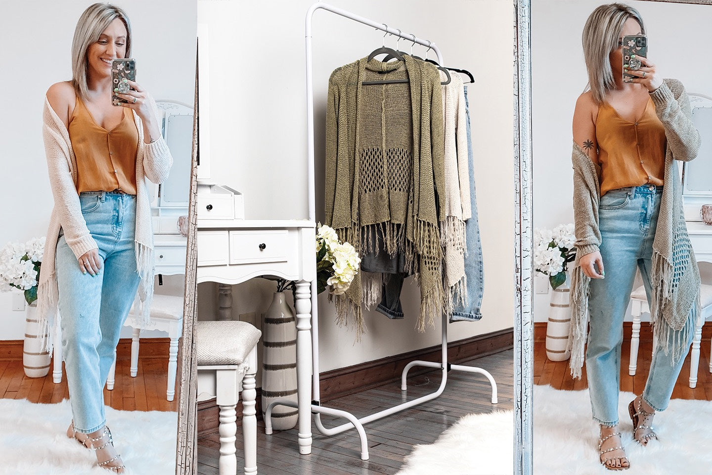 photo collage of woman modeling spring style clothing in a bright white room with white furniture