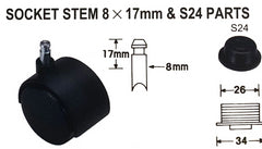 Socket Stem 8x17mm