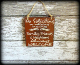 No Soliciting Or Religious Inquiries, Custom Wooden Front Door Sign