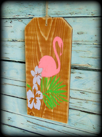 Pool Party Decor Rustic Wooden Flamingo Sign