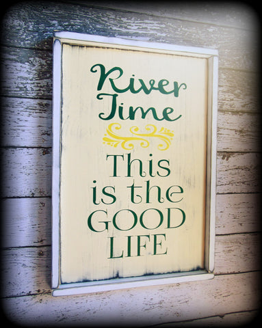 Rustic Framed River Sign