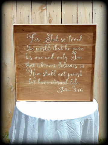 John 3:16, Rustic Wooden Bible Verse Sign, Handmade Wooden Home Decor