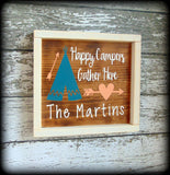 Happy Campers Gather Here, Housewarming Gift, Personalized Wooden Sign, Family Name Plaque