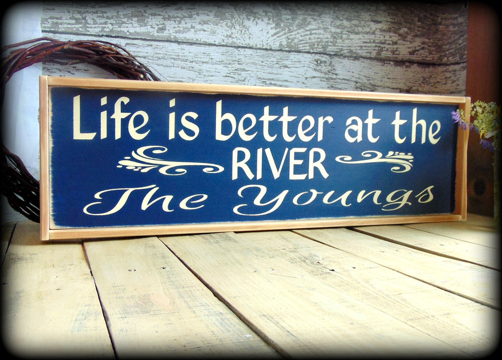 Personalized Camp Sign Rustic River House Sign