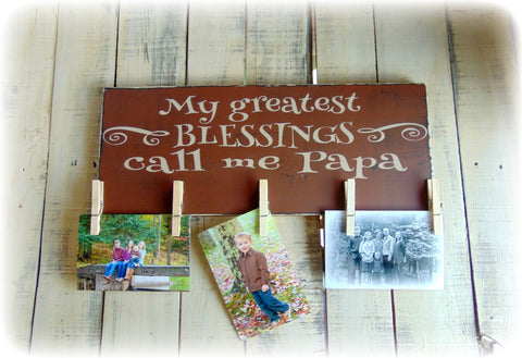 Gift For Papa, Rustic Wooden Sign, Custom Wood Plaque, Photo Display Board, Clothespin Picture Holder