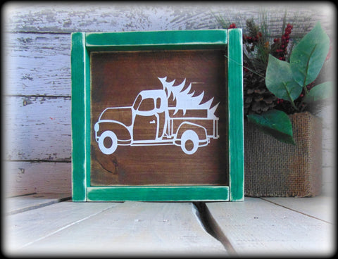 Vintage Inspired Truck and Christmas Tree, Rustic Wooden Mantel Decor, Holiday Sign, Green and White Christmas Decor