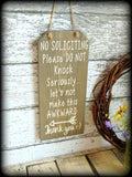 Funny No Soliciting Sign, Front Door Sign, Do Not Disturb, No Solicitation