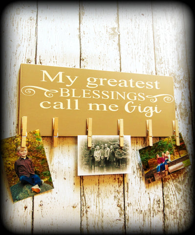 Custom Wood Photo Display Board For Grandma - Mother's Day Gift - Wooden Picture Board - Hand Painted Rustic Wood Sign