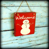 Snowman Sign, Welcome Sign, Handmade Rustic Wooden Decor, Red Sign, Christmas Decor, Winter Welcome Sign