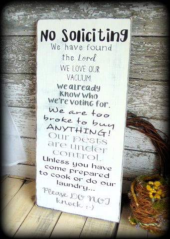 Large Front Porch Sign, No Soliciting Sign, White and Black Home Decor, Distressed Sign, Housewarming Gift