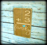 Handmade Wooden Gallery Wall Sign, Family Home Flash Card Sign, Family Number Sign