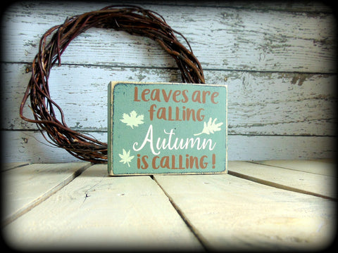 Rustic Fall Decor, Wood Block Sign, Mantel Display, Primitive Autumn Home Decor