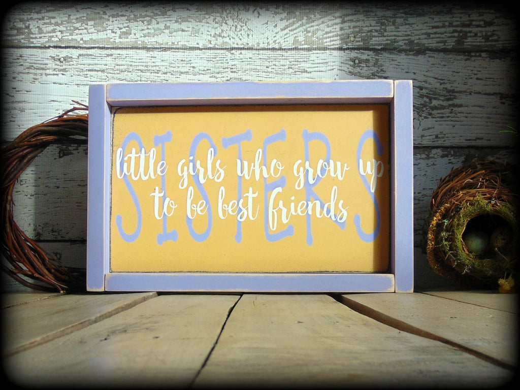 Gift For Sister Sister Sign Rustic Home Decor Framed Wood Sign Sis Sawdust And Sunshowers