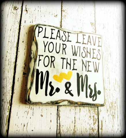 Please leave your wishes for the new Mr. & Mrs., Rustic Guestbook Sign