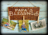 Papa's Blessing, Rustic Wooden Picture Board Display, Father's Day Gift