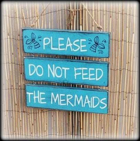 Funny Pool Sign, Mermaid Decor, Please do not feed the mermaids
