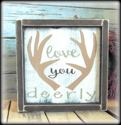 Woodland Decor, Love You Deerly, Antler Decor, Gift For Hunters, Deer Decor, Valentine's Day Gift