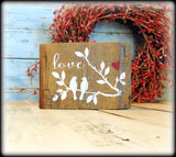 Love Birds Shelf Sitter, Rustic Wood Block Sign, Valentines Day Gift, Bridal Shower Present, Rustic Wedding Decor
