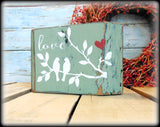 Farmhouse Style Mantel Display, Green Shelf Sitter, Rustic Home Decor, Valentines Day Gift, Love Birds