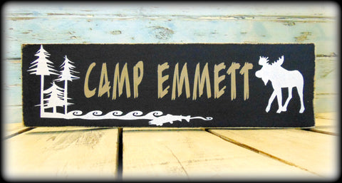 Rustic Camp Shelf Sitter, Personalized Gift, Custom Wooden Sign, Woodland Lodge Decor