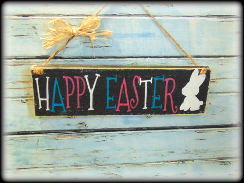 Happy Easter Sign Rustic Wooden Spring Plaque Bunny Decor Front Door
