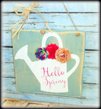 Hello Spring, Rustic Wood Sign, Blue Home Decor, Welcome Plaque